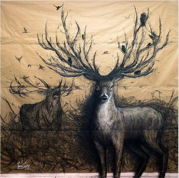 Drawn 3d art fiona tang Tang drawing The stag animal
