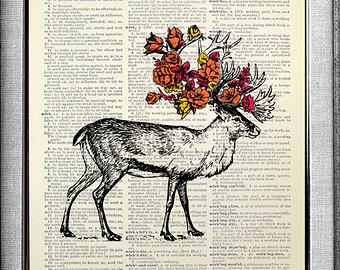 Drawn stag deer antler Decor Art Art Deer Deer