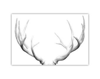 Drawn stag deer antler Deer Print Wall antler Deer