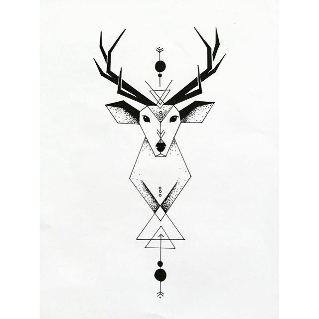 Drawn stag geometric Tattoo Instagram vane172 geometric deer