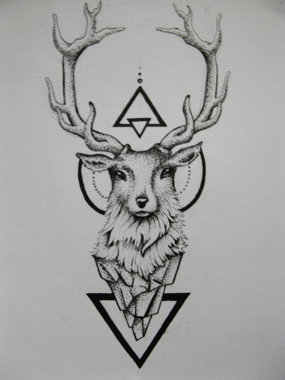 Drawn stag geometric  deviantart Tattoo Deer ink