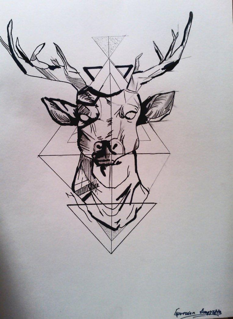 Drawn stag geometric DeviantArt on deer EvangeliaGer deer
