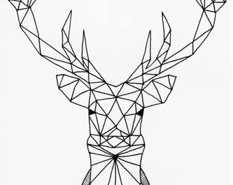 Drawn stag geometric Geometric A3 A4 head Etsy