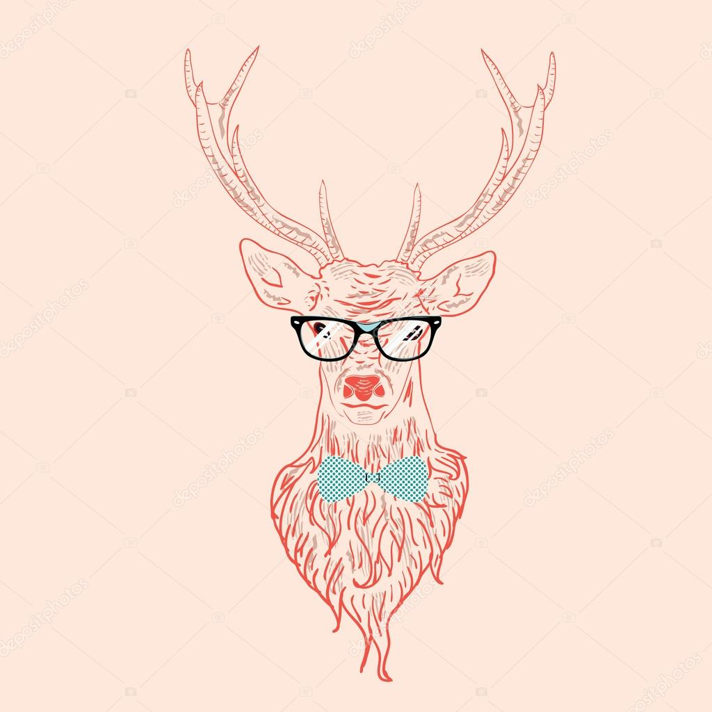 Drawn stag hipster By glasses hipster — ©