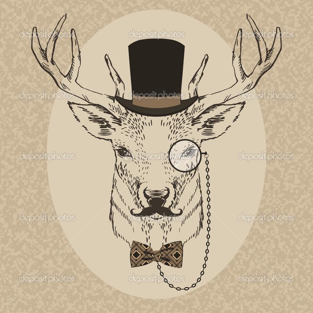 Drawn stag hipster Con Buscar Buscar  CABEZA