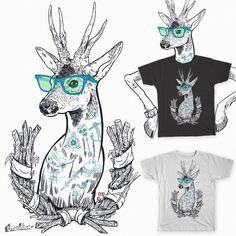 Drawn stag hipster Print #tattoo #tshirt Deer! Ink