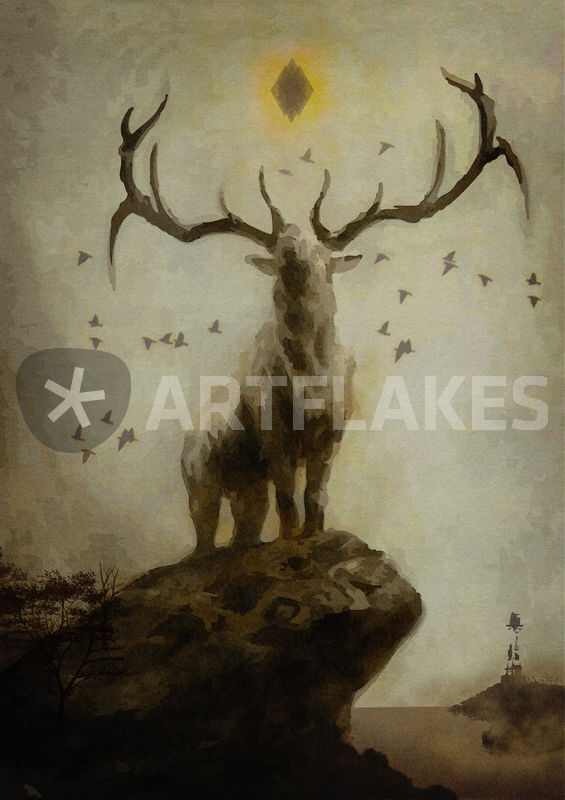 Drawn stag majestic Art BARBEAU  and Export