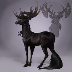 Drawn stag monster  mule wilderness Stag Dying
