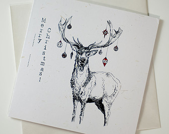 Drawn stag noble Baubles// Noble Card Recycled deer