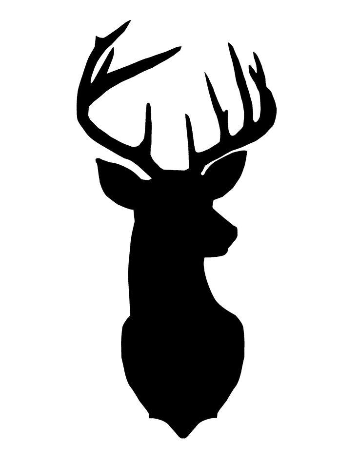 Drawn stag silhouette Deer silhouette DIY head art