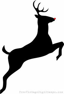 Drawn stag silhouette Digital Outline Free Head Leaping