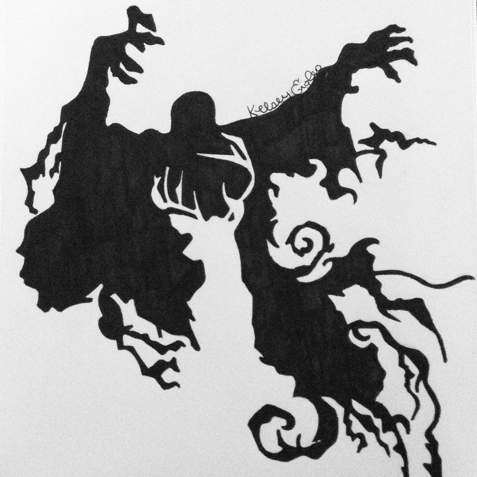 Drawn stag silhouette And Dementor  Dementor Engles