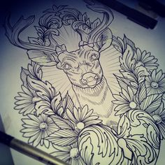 Drawn stag traditional By #stag awesome by Flo