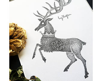 Drawn stag traditional Song Baratheon of Game Dotwork