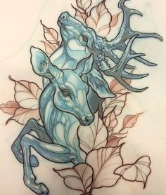 Drawn stag traditional Deer go away And Vector