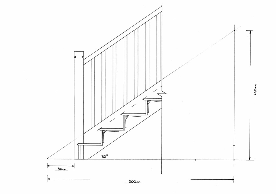 Drawn stairs Shows the detail Studies the