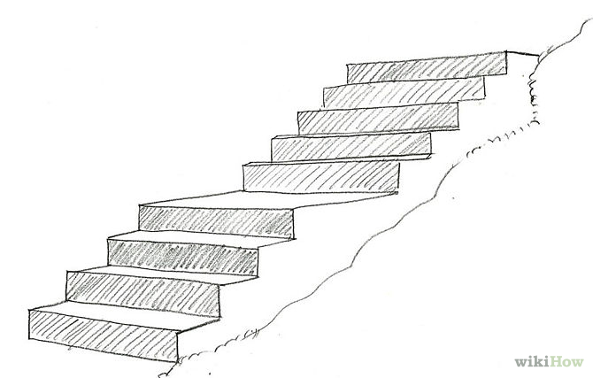 Drawn stairs Log and 2 Shading 670px