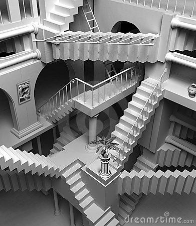 Drawn stairs allusion Escher images Stairs Which you
