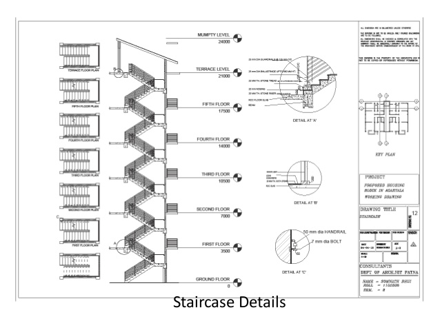 Drawn stairs architectural drawing 22 Architectural drawings Elevation; Staircase