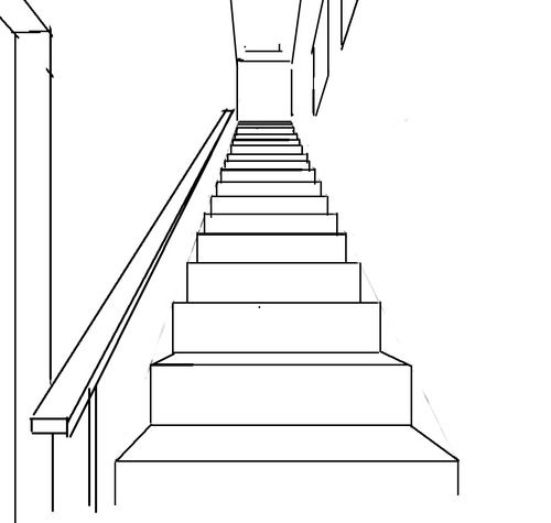 Drawn stairs architectural drawing PERSPECTIVE DRAWING perspective best on