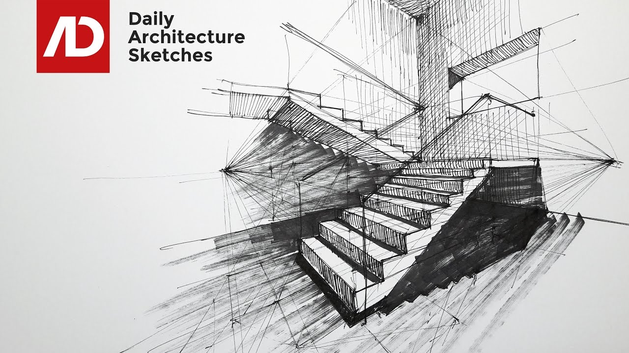 Drawn stairs architectural drawing To Point Two Perspective Point