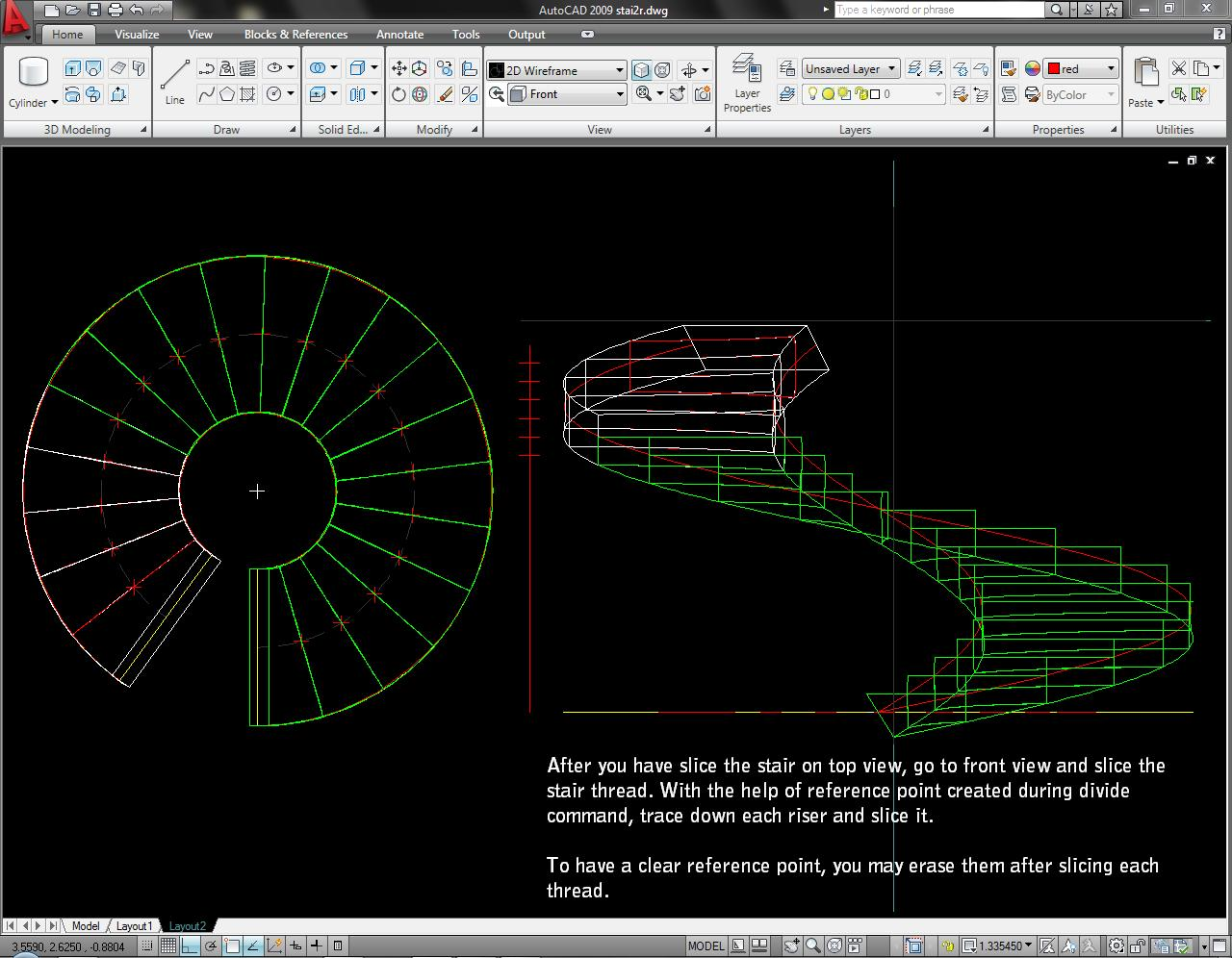 Drawn stairs autocad 3d Step Modelling) 1 stair Spiral