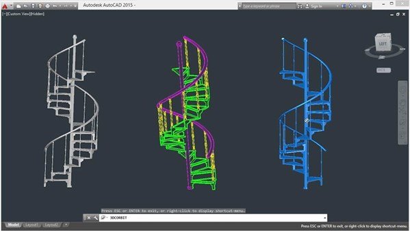 Drawn stairs autocad 3d  with Staircase a Modeling
