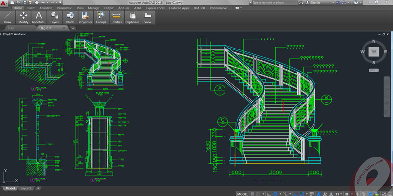 Drawn stairs autocad 3d Spiral Autocad Drawings StairCase ElektrikBilim