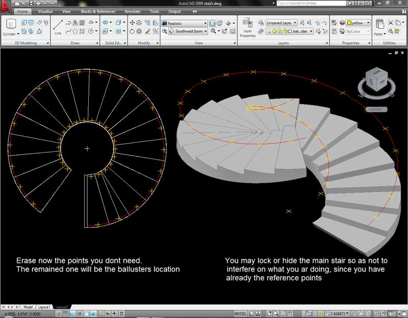Drawn stairs autocad 3d Spiral (Autocad Step ( any