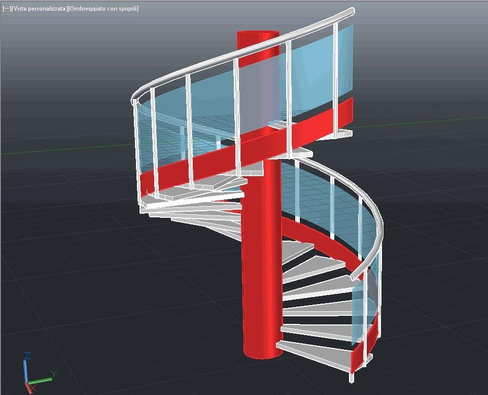 Drawn stairs autocad 3d Spiral 3D Spiral few di