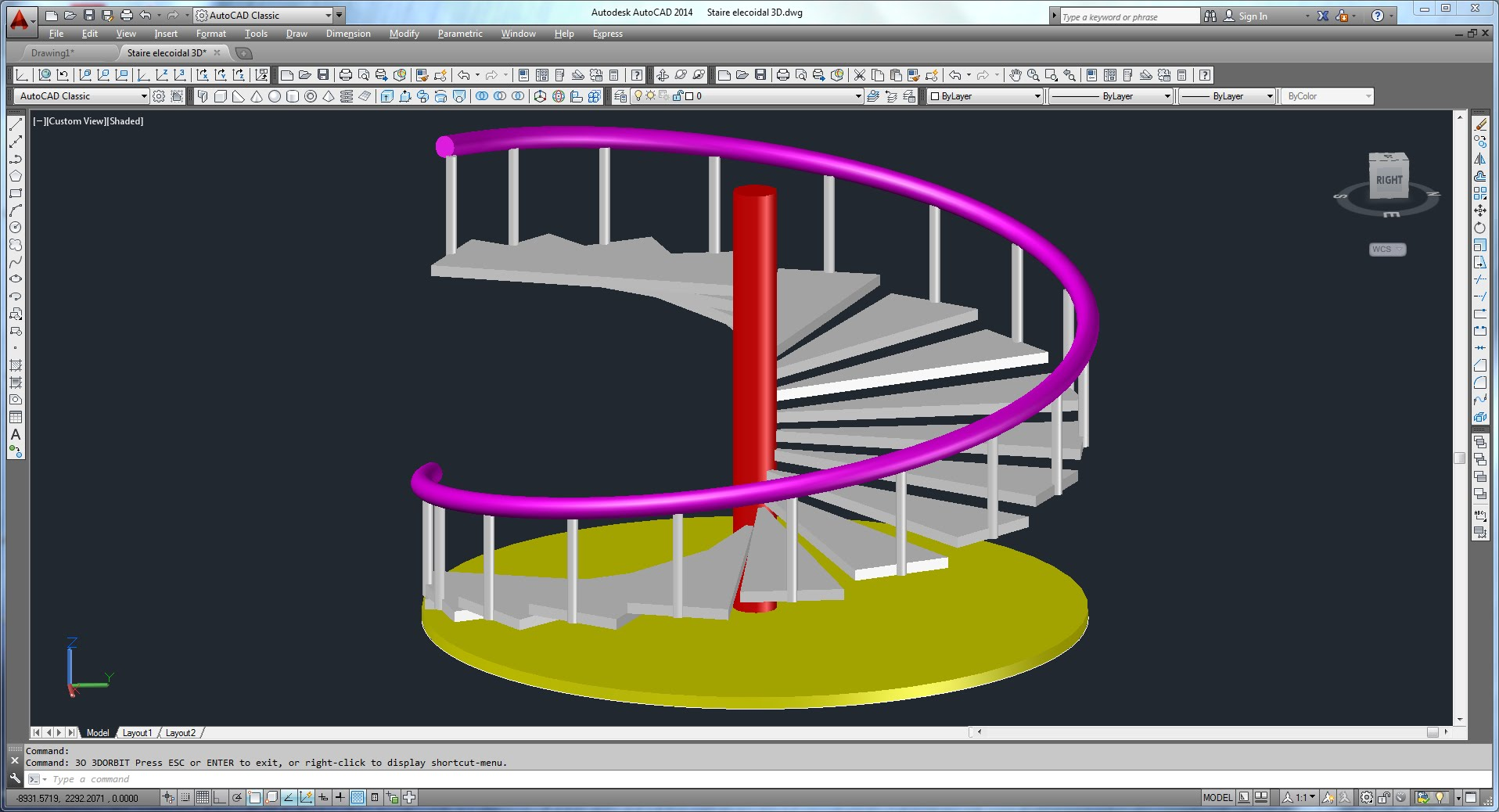 Drawn stairs autocad 3d Spiral & With Autocad Staircase