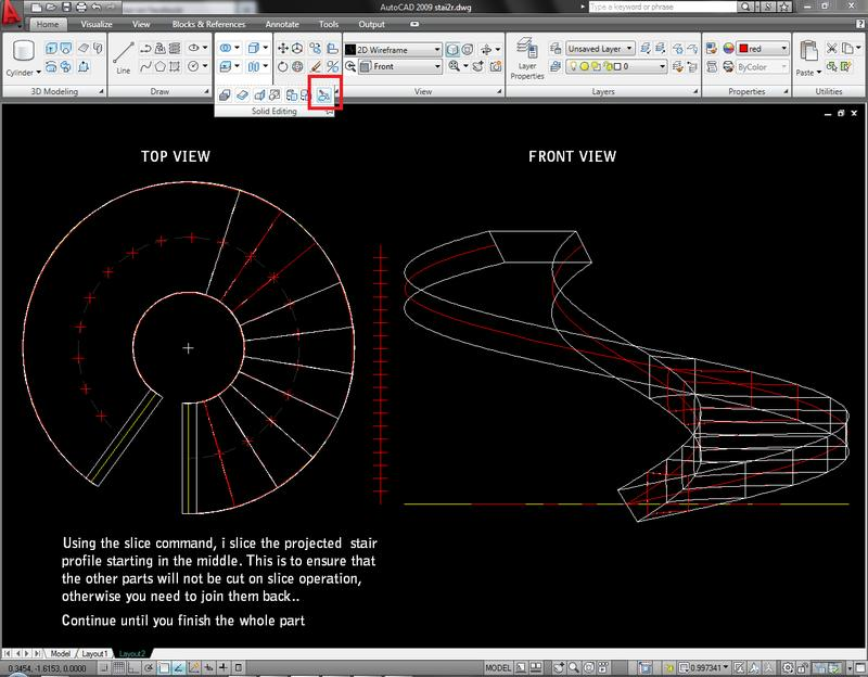 Drawn stairs autocad 3d Step 1 Modelling Spiral Slice)