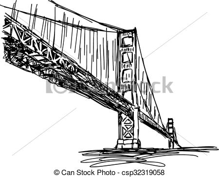 Drawn stairs bridge Doodle Clipart hand francisco illustration