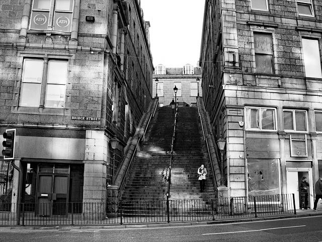 Drawn stairs bridge Seen stairs Street shows upper