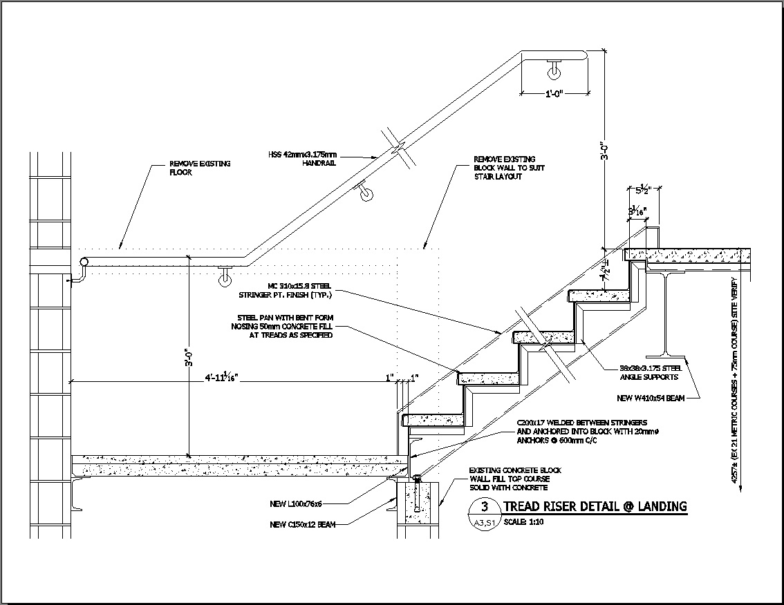 Drawn stairs concrete staircase detail Railing Dwg Design Best Stair