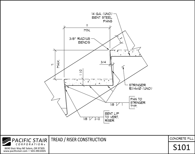 Drawn stairs concrete staircase detail Stair Tread L100: Concrete /