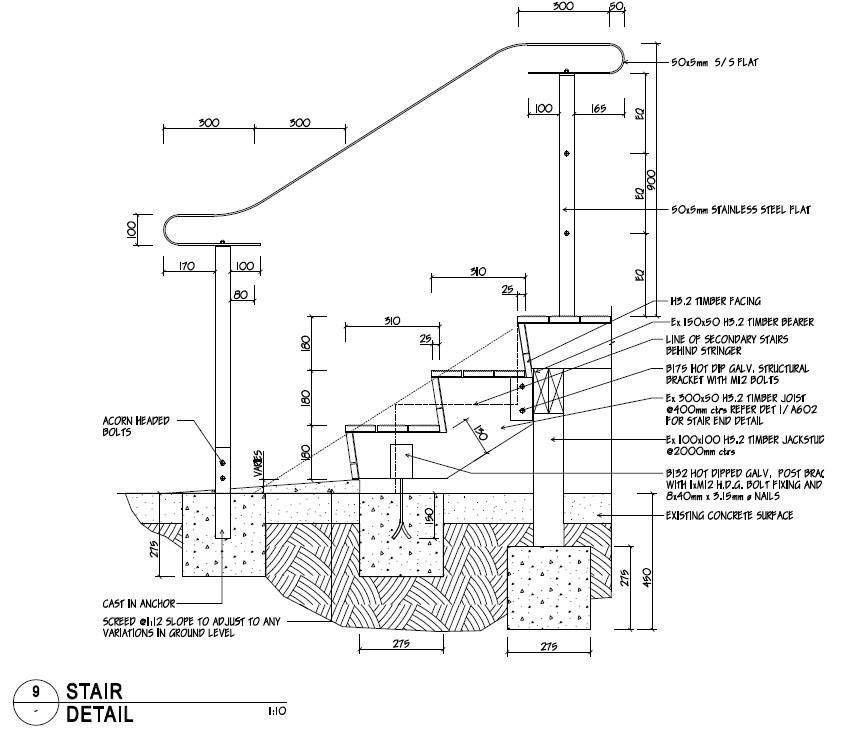 Drawn stairs concrete staircase detail All Important specifications be functional