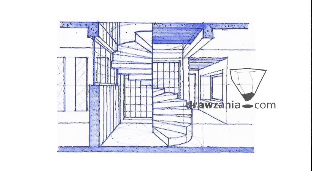 Drawn stairs curved staircase Perspective staircase Perspective Drawing: spiral