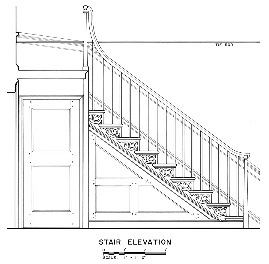 Drawn stairs detail drawing For Buildings Survey American Doors