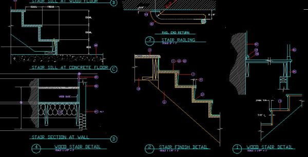 Drawn stairs dwg CAD AutoCAD Library Blocks Details】★