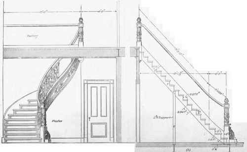 Drawn stairs section Stairs 124 Semicircular Semicircular Stairs