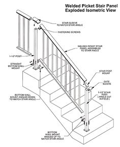 Drawn stairs technical drawing Rail Picket Plan Hand Aluminum