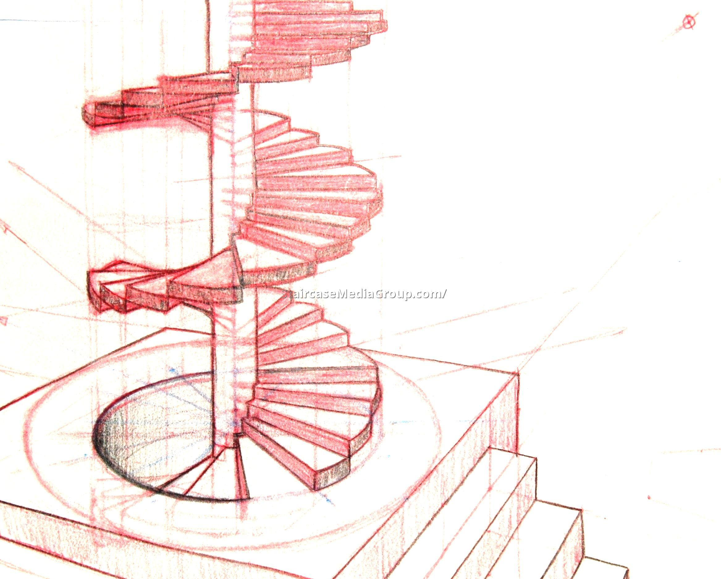 Drawn stairs technical drawing Stair enterprise the Spiral the