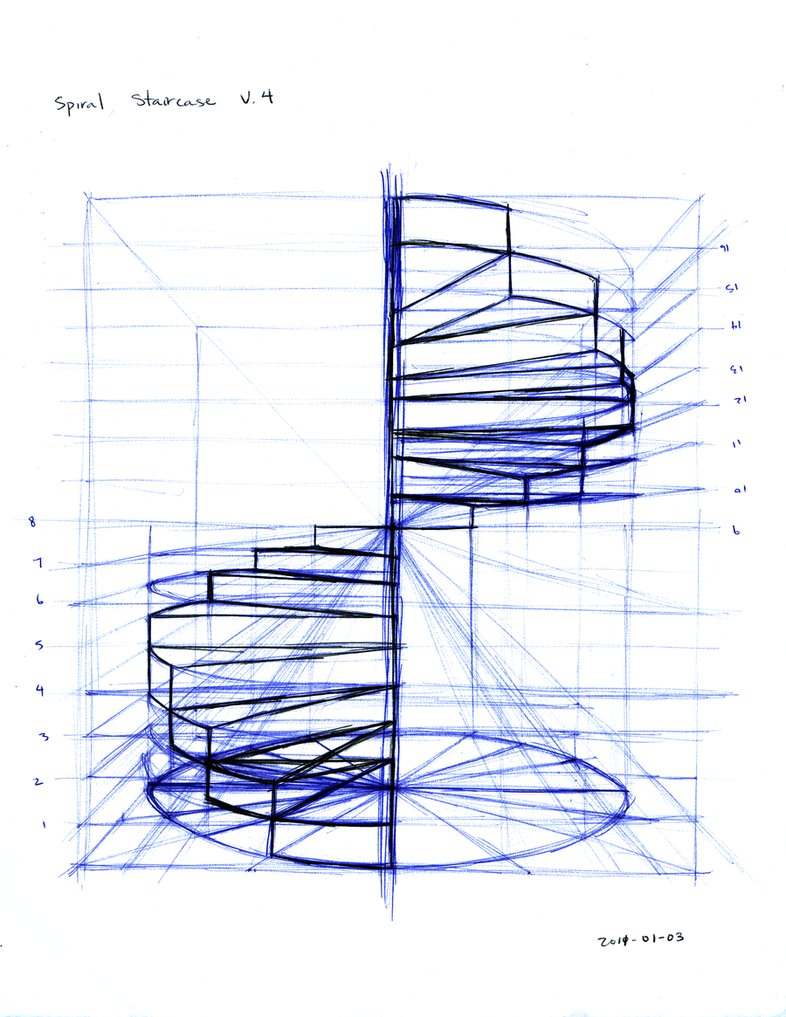 Drawn stairs technical drawing Drawing net Spiral Deviantart
