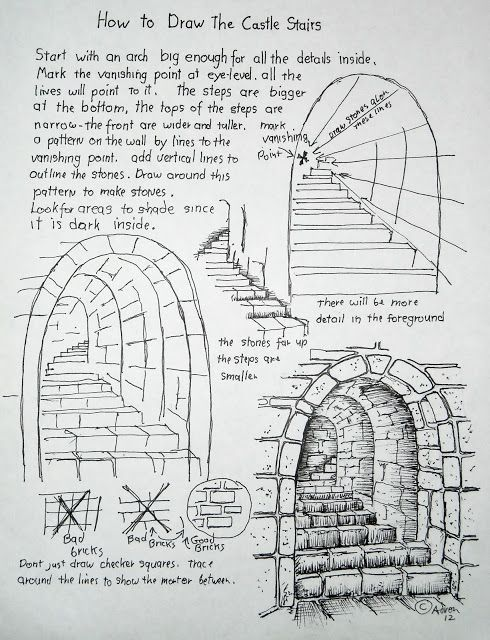 Drawn stairs tunnel Perspective 25+ http://drawinglessonsfortheyoungartist blogspot Worksheet