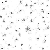 Drawn star black and white Hand Black Bohemian White Stars