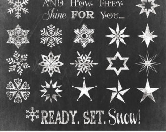 Drawn star chalk Winter chalk clipart for and