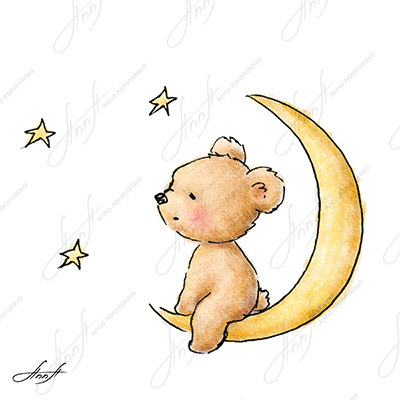 Drawn star cute On sitting the  teddy