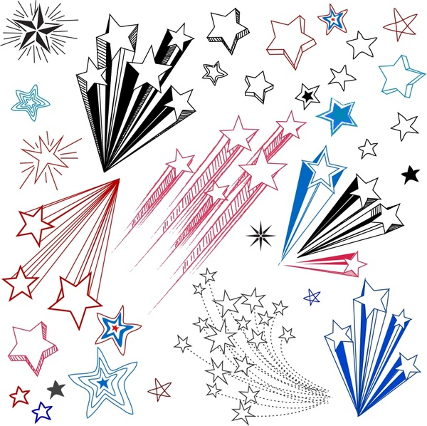 Drawn star different Star (13 vector vector Hand