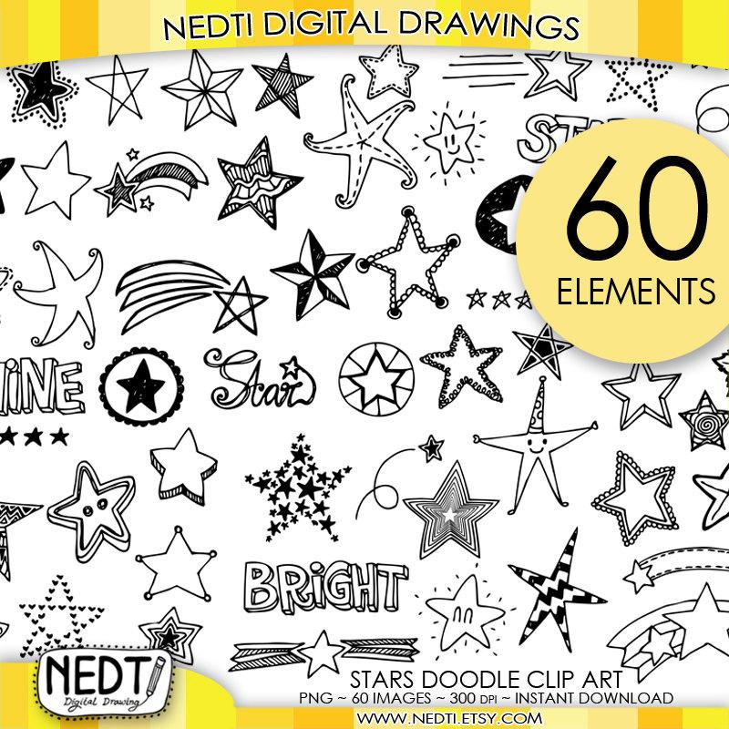 Drawn stare doodle Clip Star Bright Art Hand